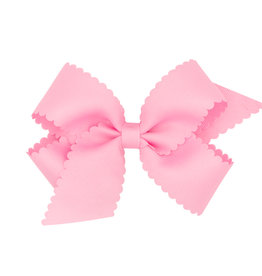 Wee Ones Med Scalloped Edge Bow Pearl Pink