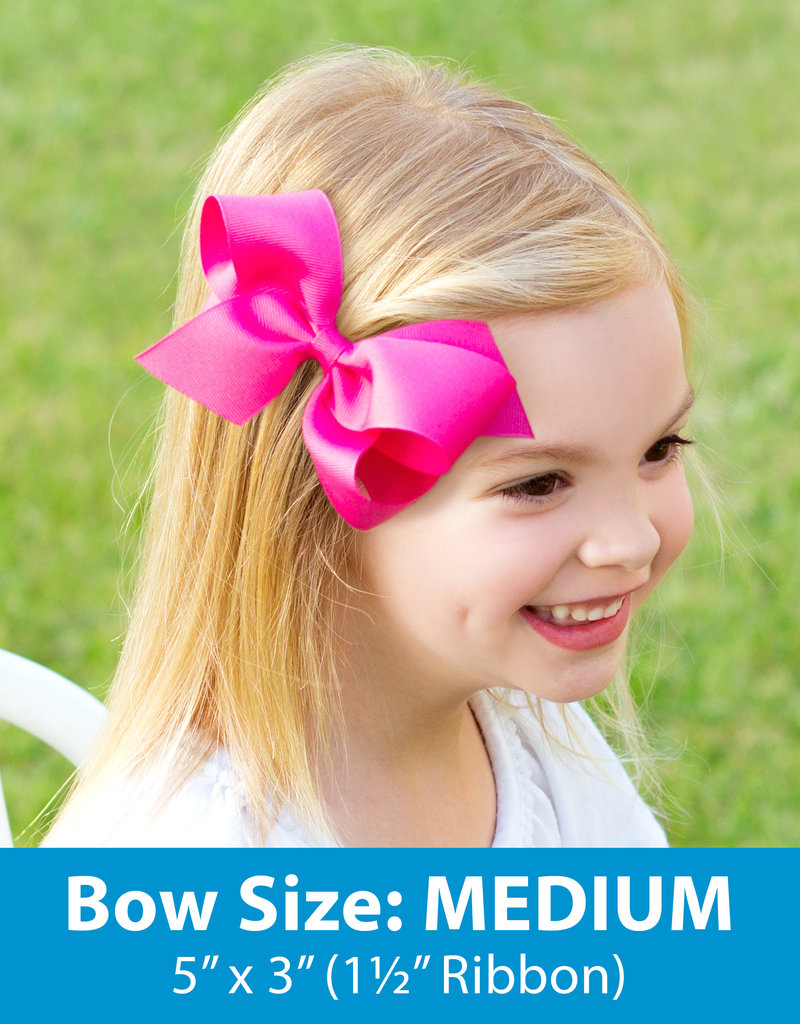 Wee Ones Med Bow w/Moonstitch Lt Pink