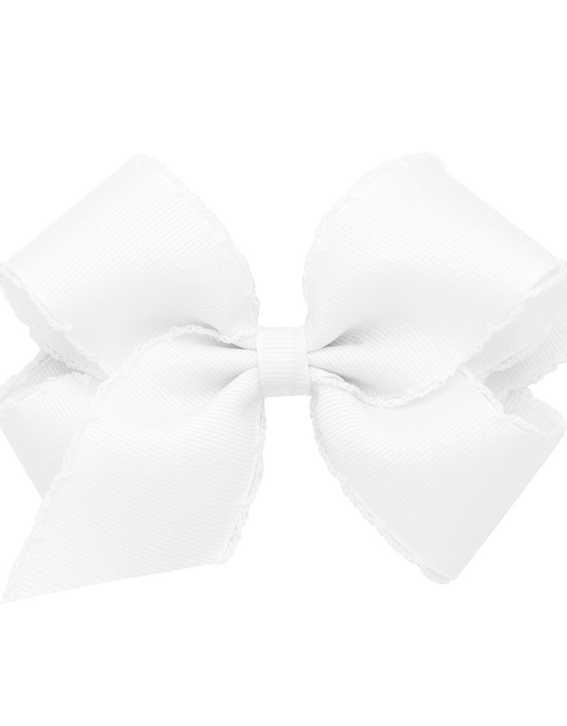 Wee Ones Med Bow w/Moonstitch White