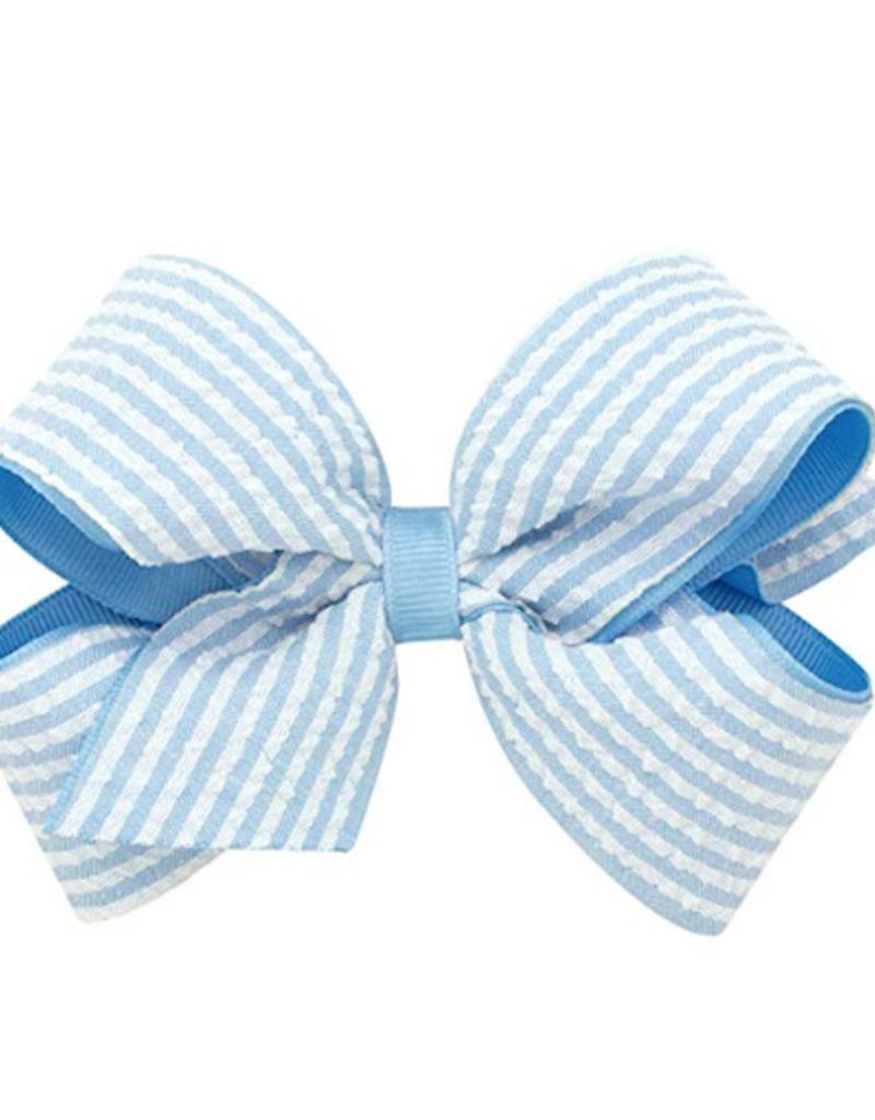 Wee Ones Med Seersucker Bow Blue