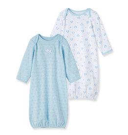 Little Me Elephant 2 Pack Gown Blue 0/3M