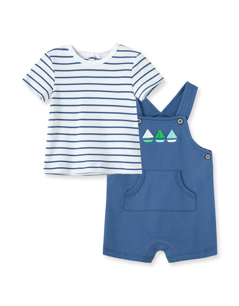 Little Me Three Boats Shortall Set Blue