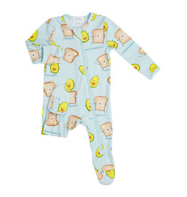 Angel Dear Avocado + Toast Zipper Footie NB-18/24M