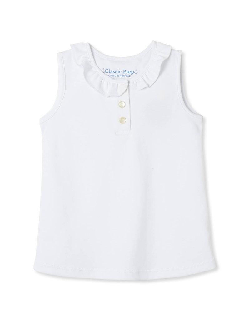 Classic Prep Zoe Sleeveless Polo Shirt White