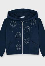 Mayoral Flower Hoodie Sweatshirt Navy