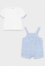 Mayoral Lt Blue Check Overall Set