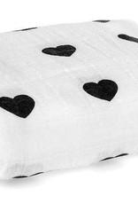 Modern Burlap Muslin Swaddle Blanket - Hearts