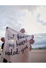 Modern Burlap Muslin Swaddle Blanket - God Knew My Heart
