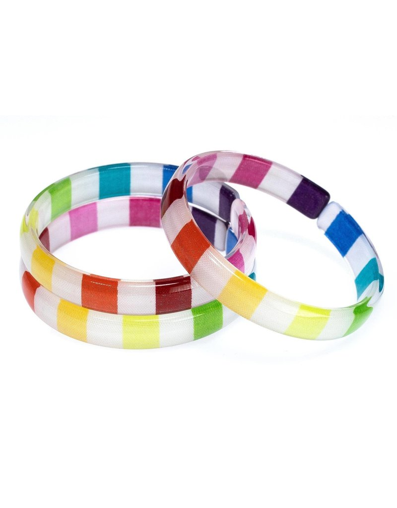 Lilies & Roses NY Colorful Stripes Acrylic Bangles Set 3