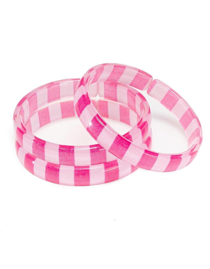 Lilies & Roses NY Pink Stripes Acrylic Bangles Set 3