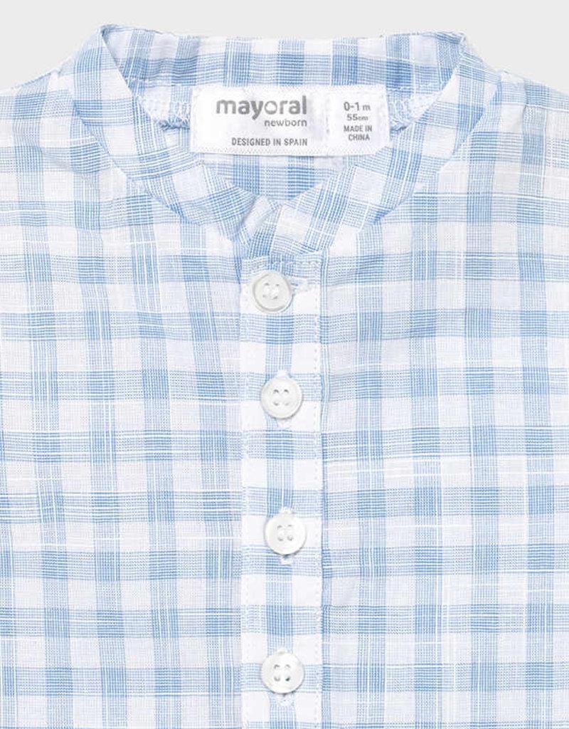 Mayoral Light Blue Check Romper