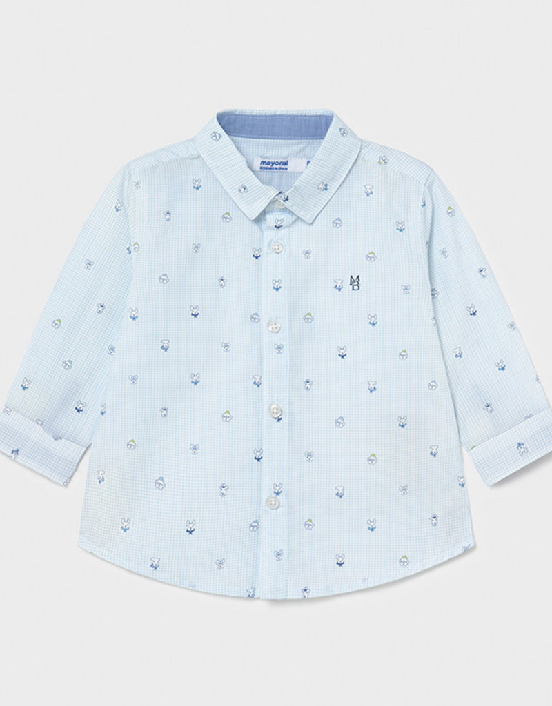Mayoral L/S Puppy Print Shirt Lt Blue