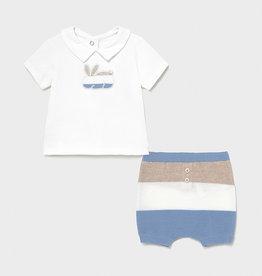 Mayoral Ecofriends Knit Lt Blue Shorts Set