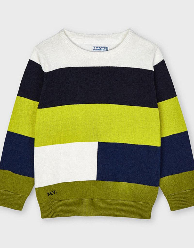 Mayoral Color Block Sweater Lemongrass