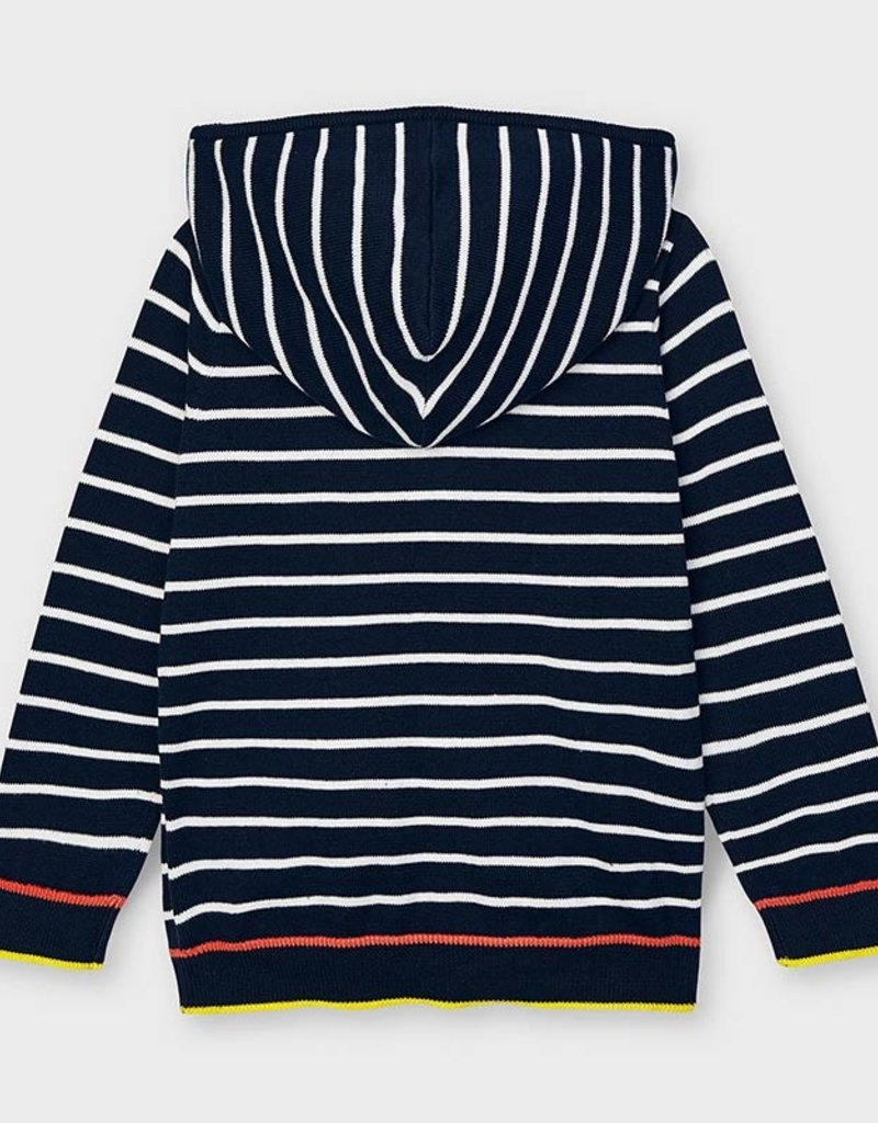 Mayoral Knit Hooded Zip Up Navy Stripe