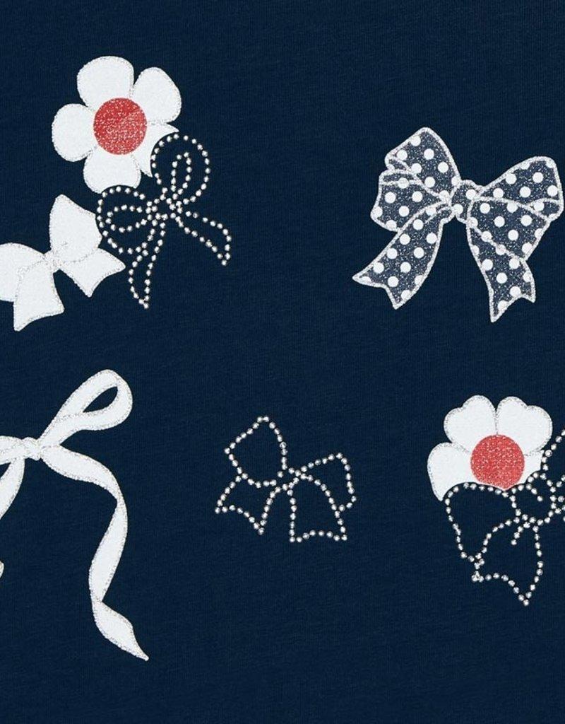 Mayoral S/S Navy Flower Applique Tee