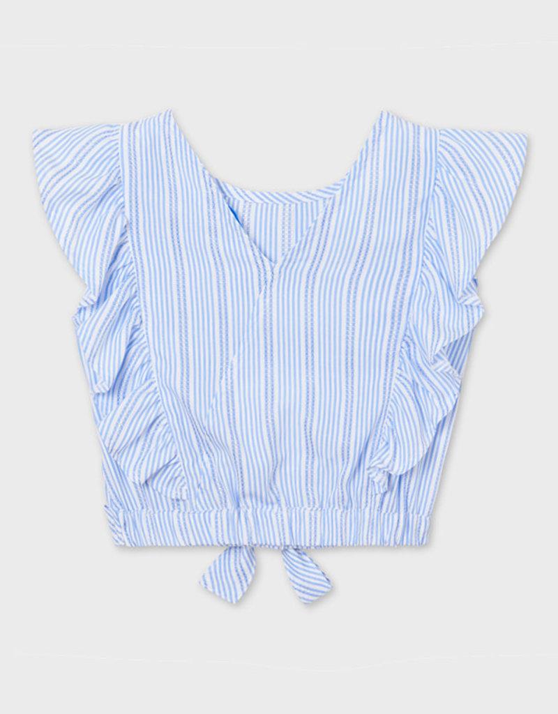 Mayoral Blue Striped Ruffled Sleeveless Blouse