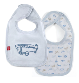Magnetic Me Airplanes Organic Cotton Rev Bib