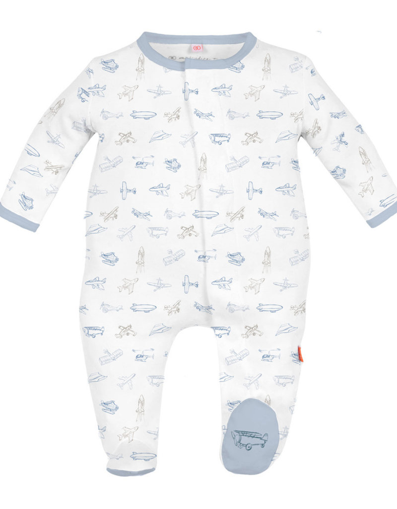 Magnetic Me Airplanes Organic Cotton Footie