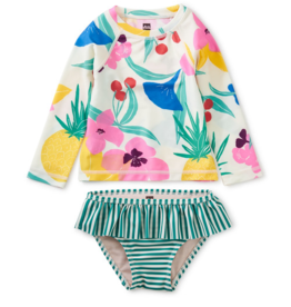 Tea Collection Rash Guard Swim Set Fruit Floral 3/6M-4T