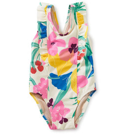 Tea Collection One Pc Ruffle Swimsuit Fruit Floral 3/6M-18/24M