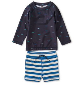 Tea Collection Rash Guard Swim Set Sardines Indigo 3/6M-4T
