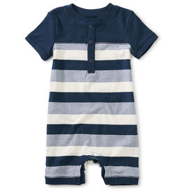 Tea Collection Henley Baby Romper Whale Blue 12/18M