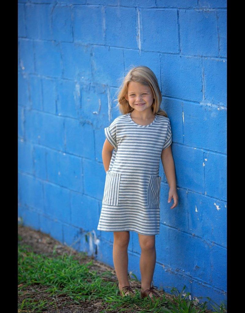 Mabel and Honey Knit Pocket Blue Dress
