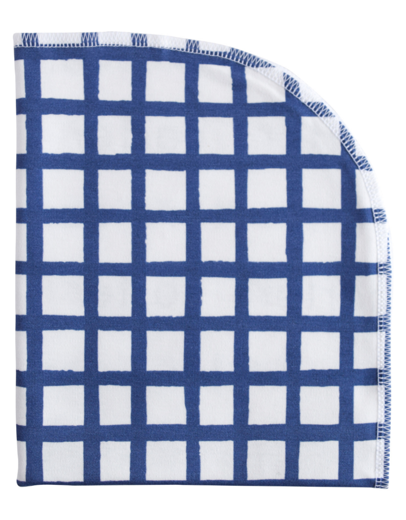 Jennifer Ann Grid Organic Blanket Navy