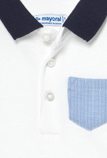 Mayoral S/S Polo White w/Blue Collar