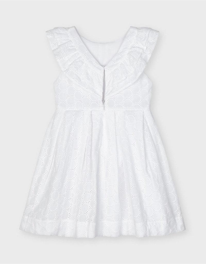 Mayoral Eyelet Poplin Dress White