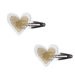 Lilies & Roses NY Agatha Glitter Gold Heart Snap Clip