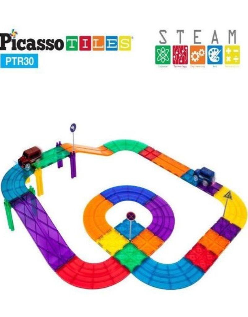 Picasso Tiles Picasso Tiles 30 Pc Race Track Building Blocks