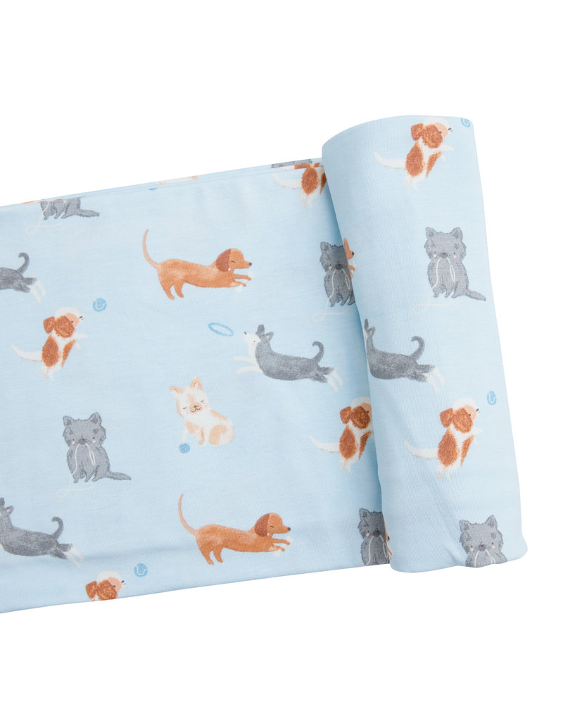 Angel Dear Puppy Play Blue Swaddle
