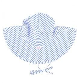 Ruffle Butts Swim Hat Periwinkle Blue Seersucker 0/12M, 12/2T