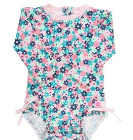 Ruffle Butts Water Lilies 1 Pc L/S Rash Guard 0/3M-3T