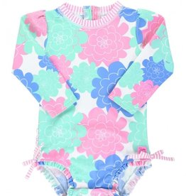 Ruffle Butts Pastel Petals L/S 1 Pc Rash Guard 0/3M-3T