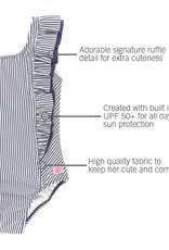 Ruffle Butts Navy Stripe Waterfall One Piece