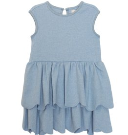 Mabel and Honey S/S Scallop Knit Dress Blue 7, 8