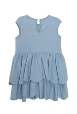 Mabel and Honey S/S Scallop Knit Dress Blue