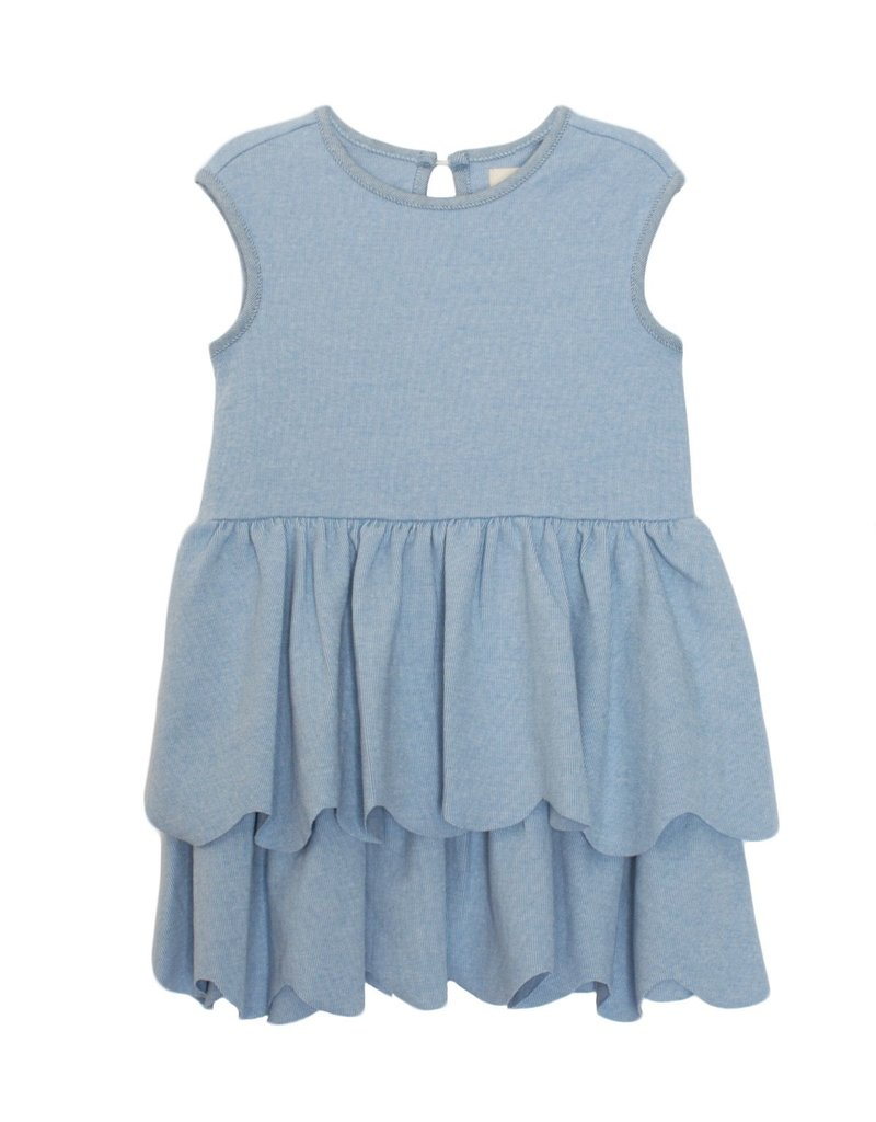 Mabel and Honey S/S Scallop 2 Pc Set Blue