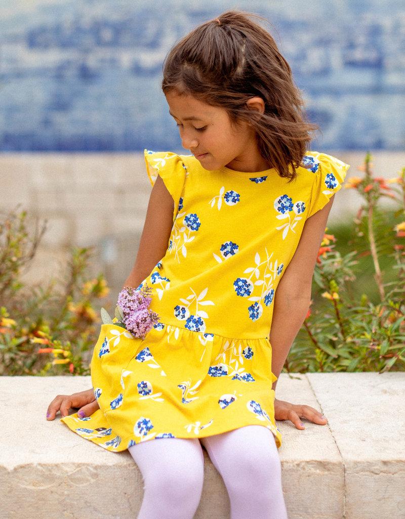 Tea Collection Flutter Sleeve Pocket Dress Flower Bunches