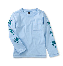 Tea Collection Palm Sleeve Graphic Tee Placid Blue 2-14