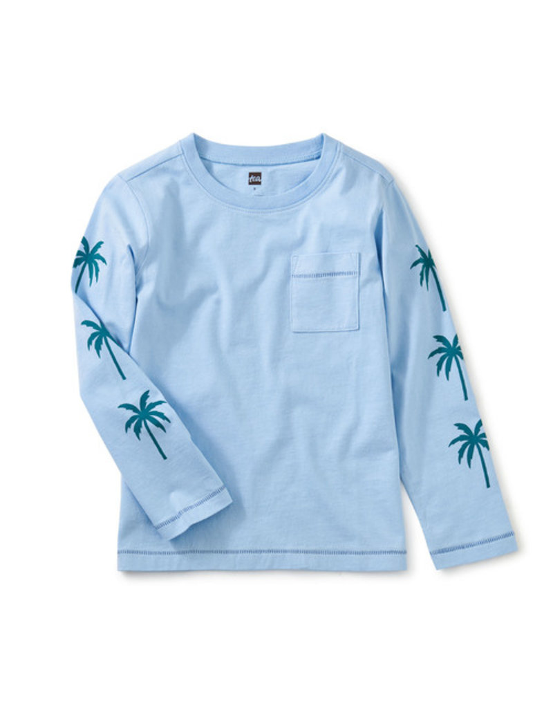 Tea Collection Palm Sleeve Graphic Tee Placid Blue