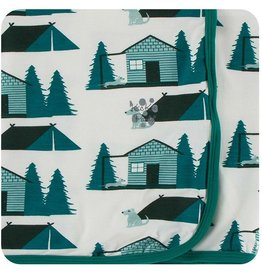 Kickee Pants Print Swaddle Natural Cabins Tents