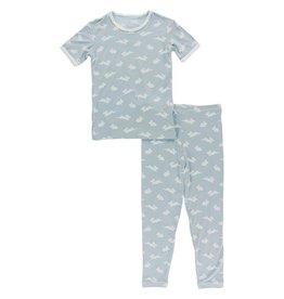 Kickee Pants Print S/S PJ Set Pearl Blue Bunny 2T-4T