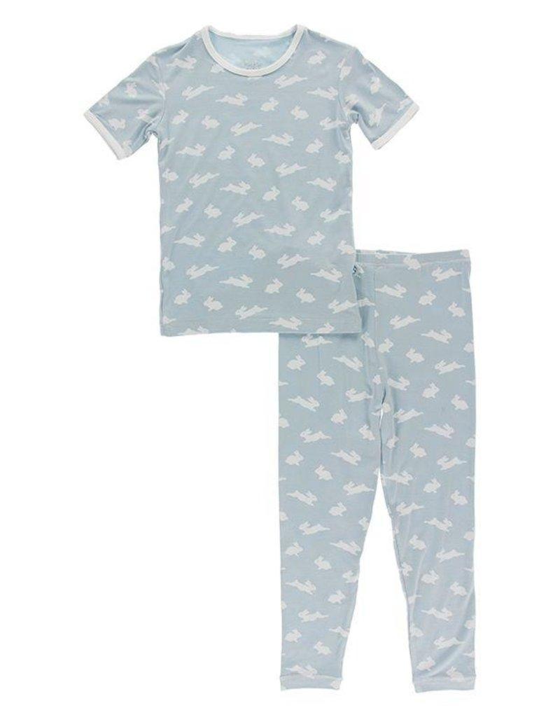 Kickee Pants Print S/S PJ Set Pearl Blue Bunny