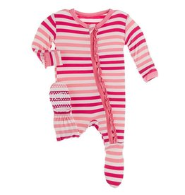 Kickee Pants Muffin Ruffle Footie w/zip Forest Fruit Stripe 0/3M-6/9M
