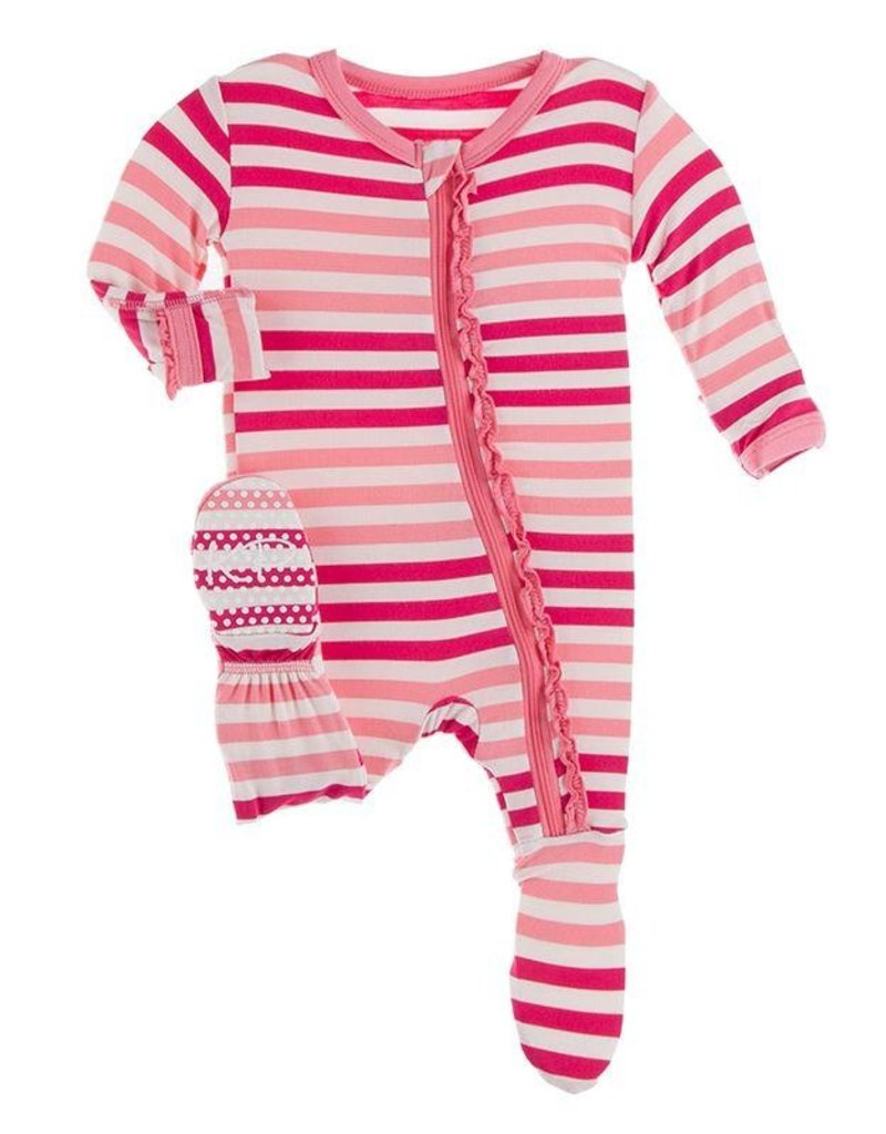 Kickee Pants Print Muffin Ruffle Footie w/zip Forest Fruit Stripe