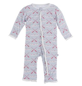 Kickee Pants Muffin Ruffle Coverall w/Zip Dew Paddles Canoe